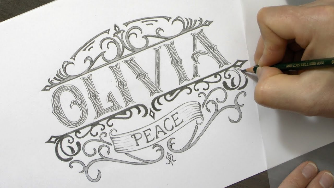 How to draw a vintage logo with pencil olivia