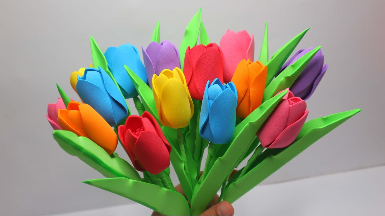 Ide Kreatif Bunga Tulip Dari Busa Hati Tulip Flower Eva Foam Gubahan Bunga Cantik Youtube