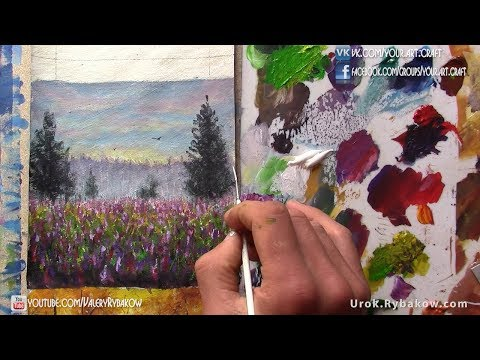 How to paint Rural landscape flowers field in acrylic on canvas. Art lesson by artist Valery Rybakow