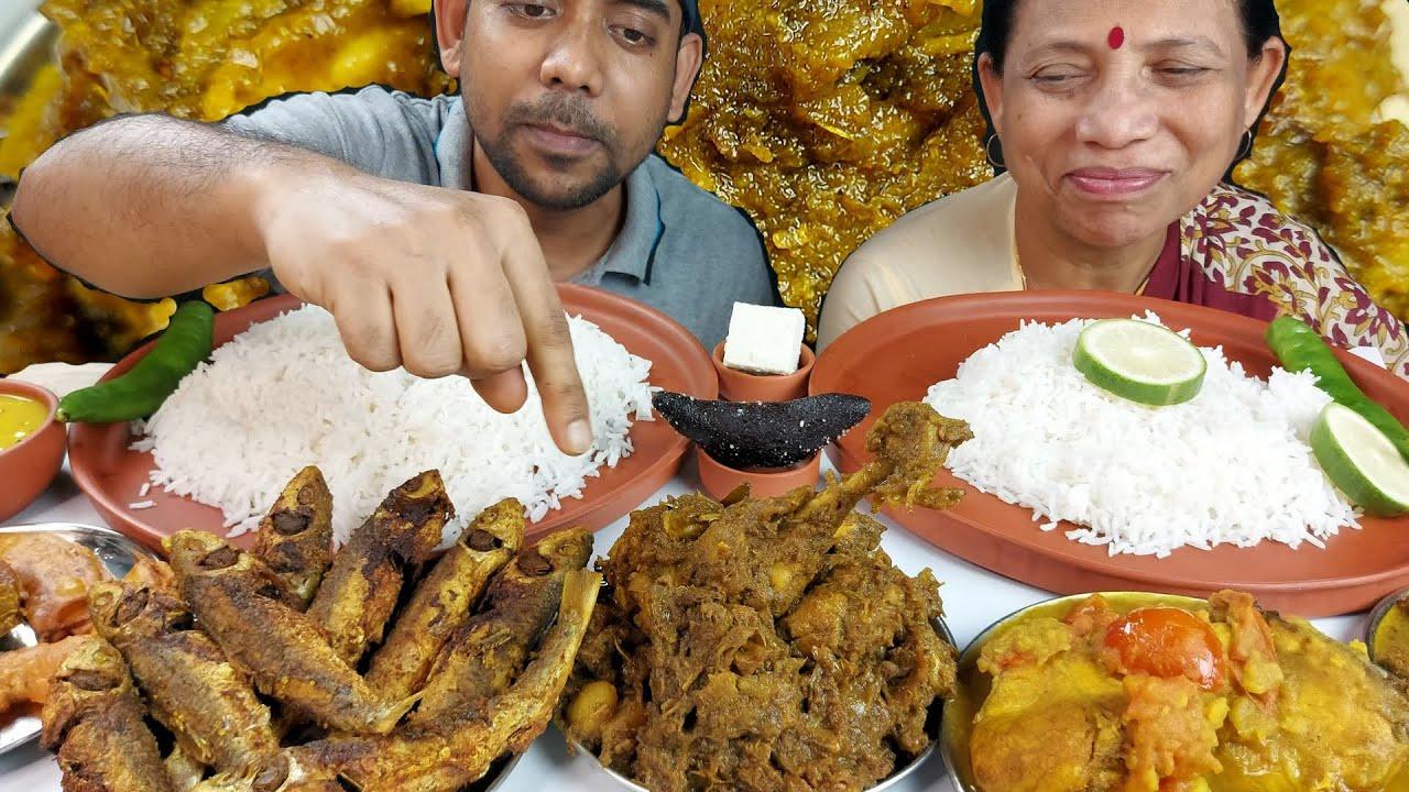 Chicken Kasha and Expensive Fish Eating With Basmati Rice Mukbang Eating Show
