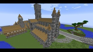 minecraft medieval church cathedral tutorial roof tower builds walls front