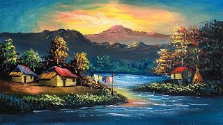 Beautiful Sunset Riverside Village Scenery Painting | Sunset Acrylic Landscape Painting Tutorial