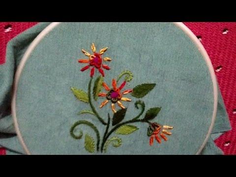 Hand embroidery : bullion and lazy bullion stitch