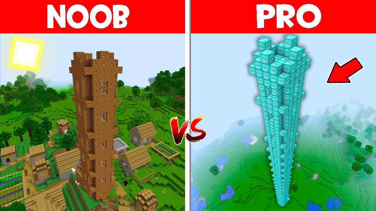 Minecraft NOOB vs PRO vs GOD: NOOB BUILD THE TALLEST TOWER IN THIS VILLAGE! (Animation)