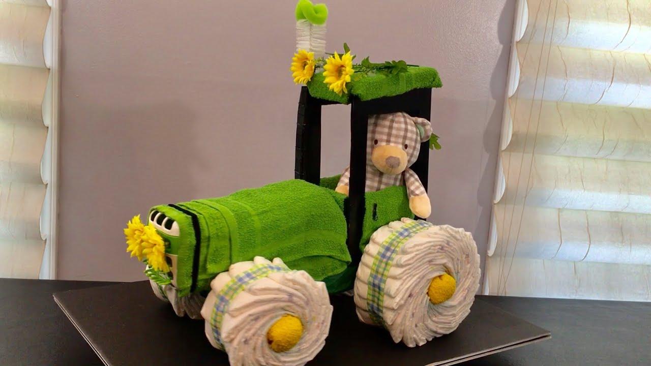 Tractor Diaper Cake Baby Shower Tarta De Pa 209 Ales Youtube