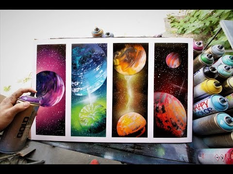 Galaxy of 4 - SPRAY PAINT ART by Skech