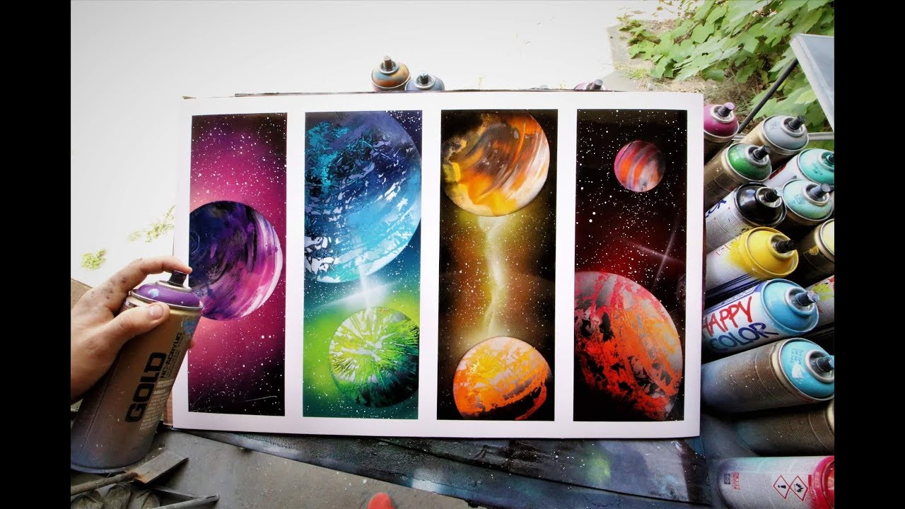 Galaxy of 4 - SPRAY PAINT ART by Skech - YouTube