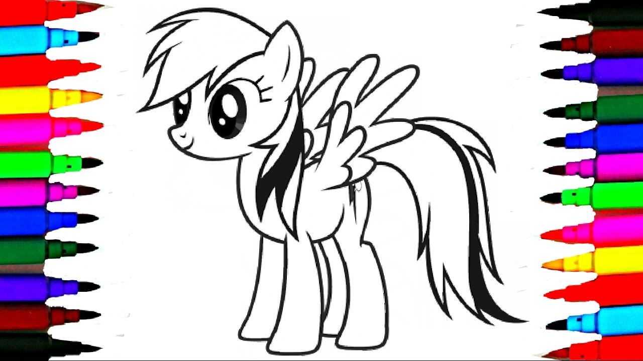 Learn Colors By Coloring MLP Rainbow Dash l My Little Pony Drawing ...