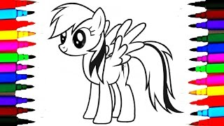 Learn Colors By Coloring MLP Rainbow Dash l My Little Pony Drawing Pages To Color For Kids