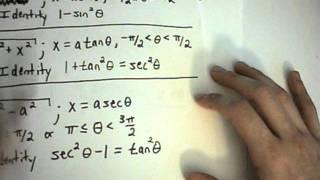 Trigonometric Substitution Example 1 Part 1