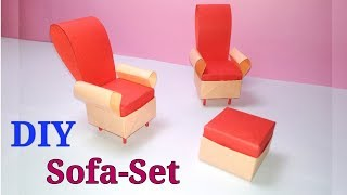 How to Make Dollhouse Furniture || Paper Sofa Set/ Couch || Table  Chair Sofa