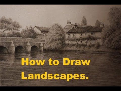 How to Draw Landscapes with Graphite Pencils, Trees, Buildings, Water, Bridges.