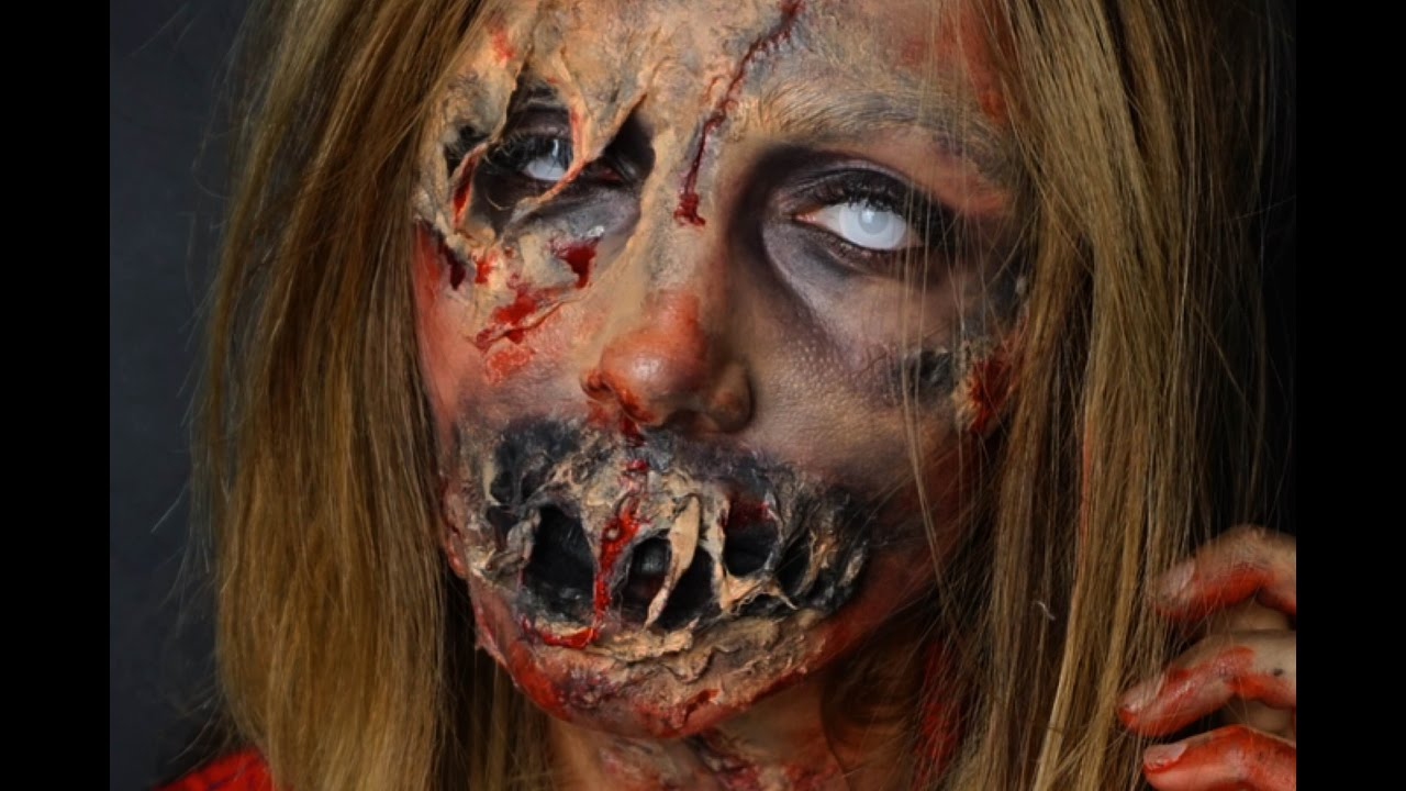 ZOMBIE HALLOWEEN MakeUp Tutorial - SFX - YouTube