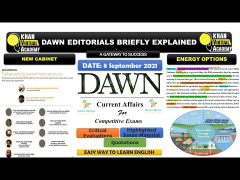 Dawn Newspaper Editorial Analysis    8 September 2021    New Afghan Cabinet    Energy Options