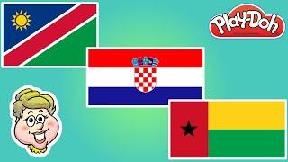 Play-Doh Flags! Namibia, Croatia, and Guinea-Bissau! EWMJ #488