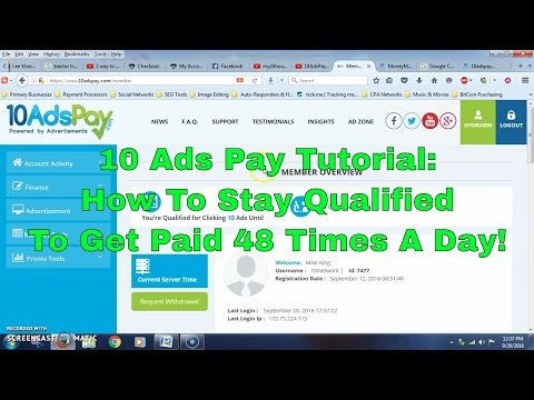 10AdsPay Tutorial | How To Stay Qualified To Get Paid 48 Times Daily!