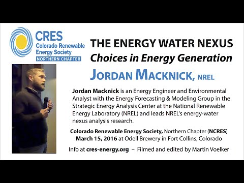 The Energy Water Nexus (Jordan Macknick, NREL - 3/15/16)