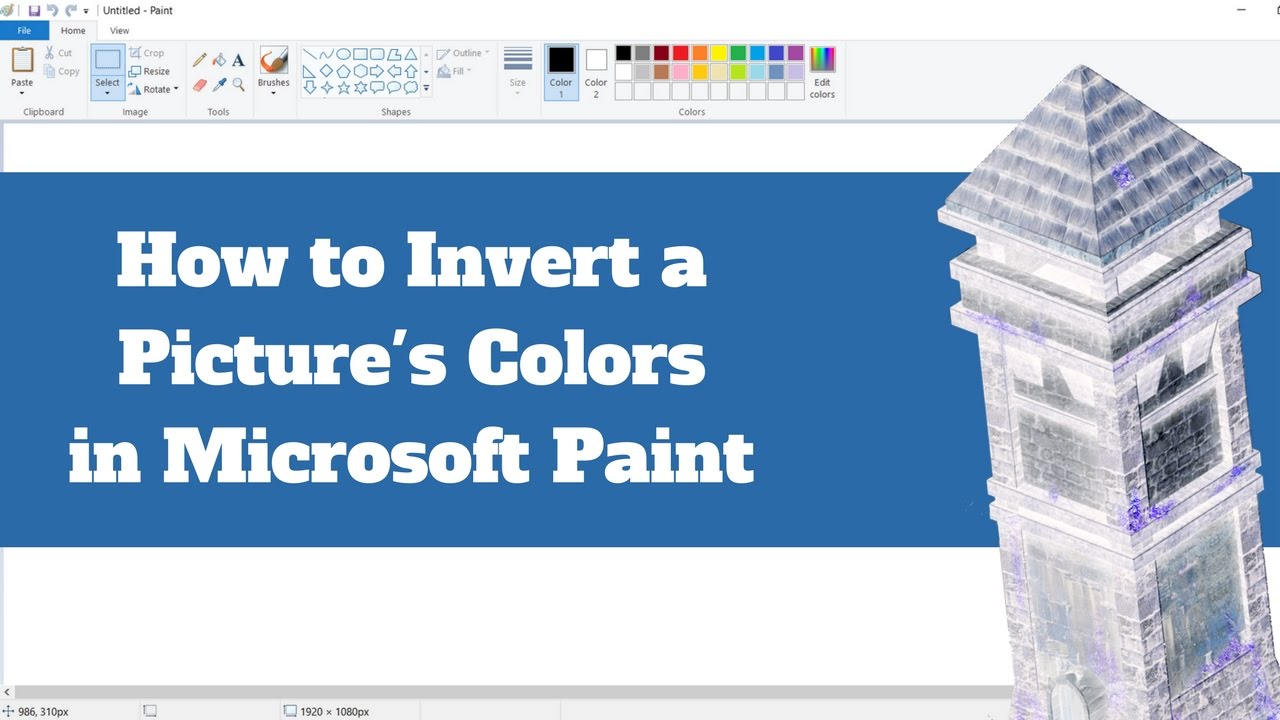 How To Invert A Picture S Color With Ms Paint Youtube
