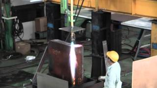 Oxy fuel gas cutting of mild steel 850mm thickness