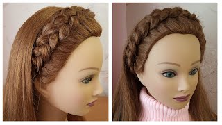 Braided headband hairstyle Quick & Easy 🌺 Tresse serre tête 🌺 facile à faire