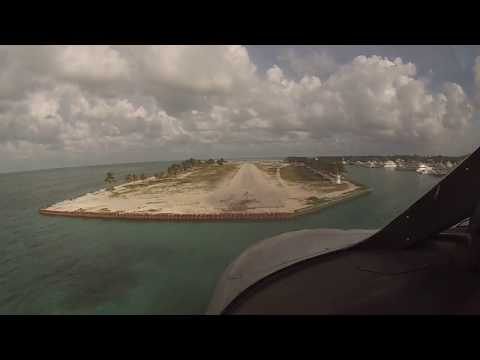 Approach and landing at Cat Cay, private Island in the Bahamas with short runway.