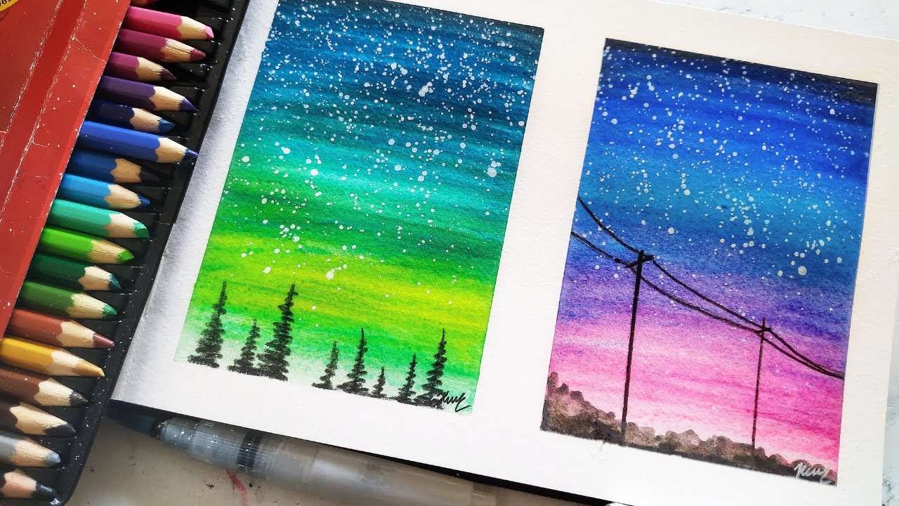 Easy Painting Ideas With Watercolor Pencils Youtube