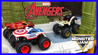 Marvel Avengers Monster Trucks | Rescuing Mini Monster Jam Trucks | Champ Ramp Flips