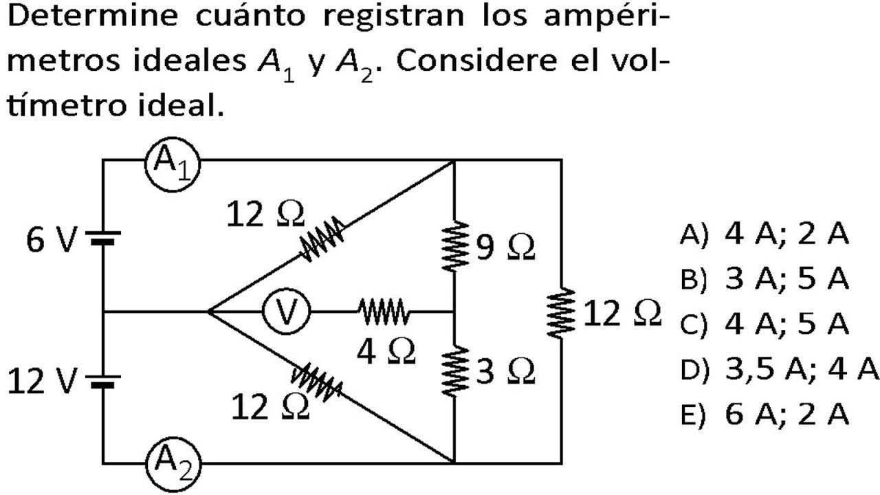 electrodin u00e1mica amper u00edmetro y volt u00edmetro problemas resueltos examen admisi u00f3n universidad
