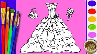 Learn to Draw and Coloring RAINBOW BARBIE Dress Coloring Book Pages Video for Kids to Learn Coloring