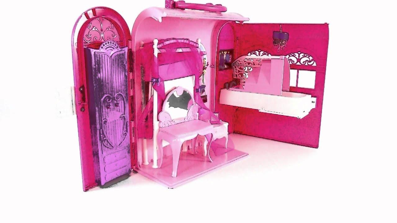 Barbie dollhouse furniture sets Barby Fits Barbie Dollhouse Toys Pink Bed And Bath Set Toy Review Youtube Barbie Dollhouse Toys Pink Bed And Bath Set Toy Review Youtube