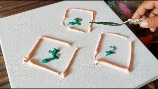 Easy Floral Abstract / Making of Abstract Painting / Relaxing / Project 365 days / day #0360