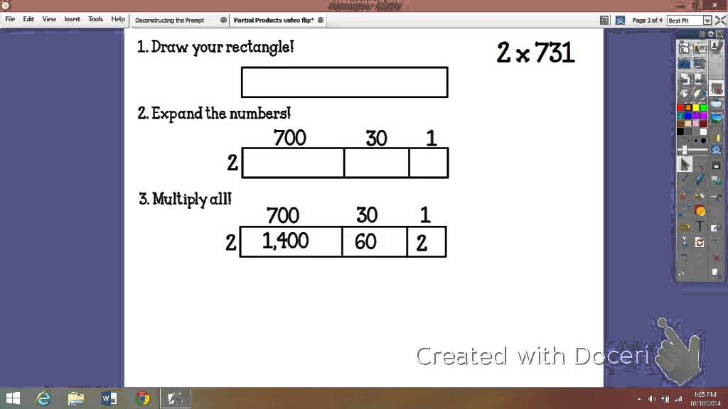 what are the partial products of 35x7
