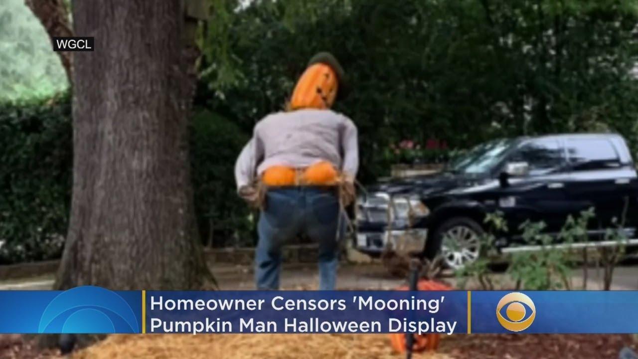 Homeowner Censors 'Mooning' Pumpkin Man Halloween Display Following Complaints
