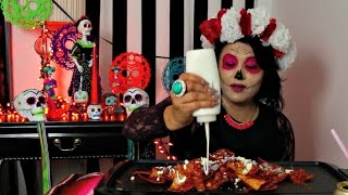 CHEESE CHILAQUILES (nachos) MUKBANG DAY OF THE DEAD  AUTHENTIC MEXICAN FOOD   먹방