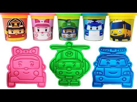 Робокар Поли Пластилин Игрушка Изучаем цвета Robocar Poli Play-Doh Learn Colors