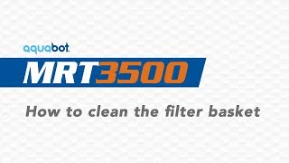 MRT 3500 How to clean the filter bag