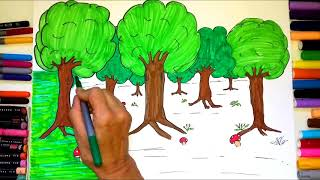How to draw FOREST for KIDS coloring and drawing with nursery rhymes for children