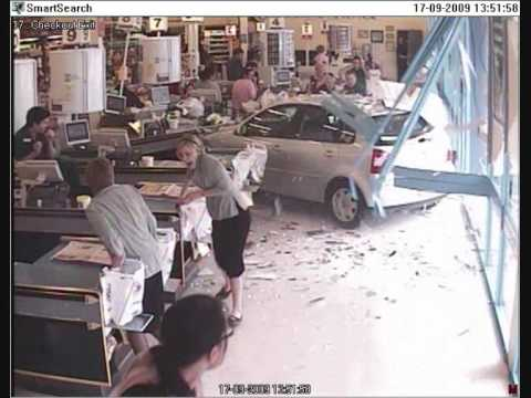 Car crash Through Window - YouTube