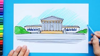 How to draw and color United States Supreme Court