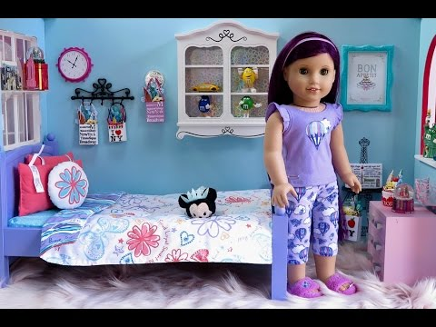 American Girl Doll Floral Bed and Bedding Set