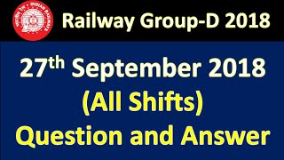 RRB Group-D All Shift (27th/sep/2018) Answer Key