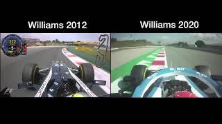 2012 pastor maldonado's pole lap vs russell's fastest from 2020 preseason testing.