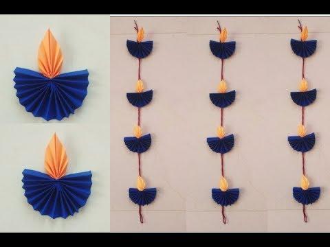 DIY Diwali decoration ideas//Easy Paper Diya wall hanging for Diwali
