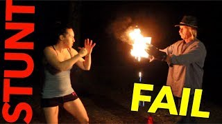 Punching Boards on FIRE STUNT ❌  with STUNTGIRL Rachel Star