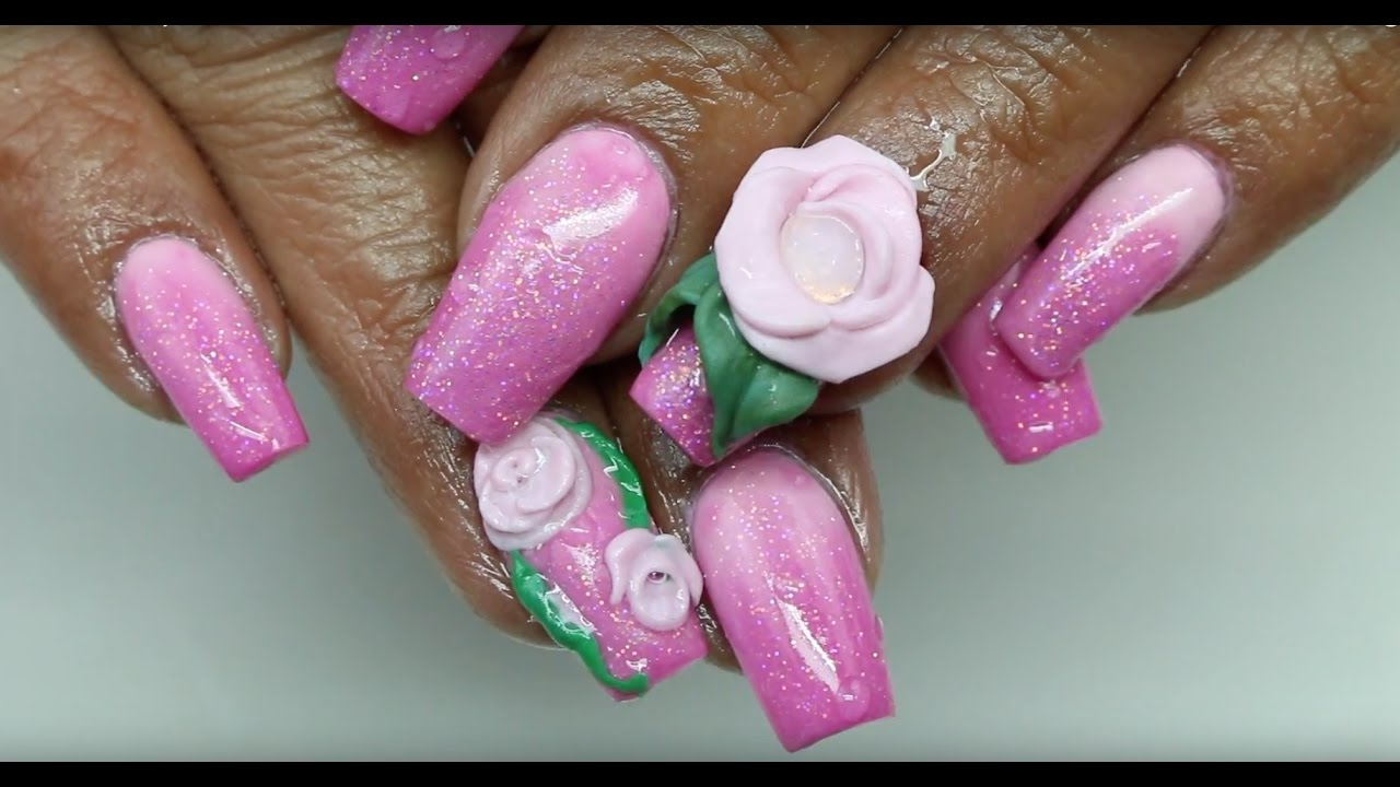 How To Pink Acrylic Nails - YouTube