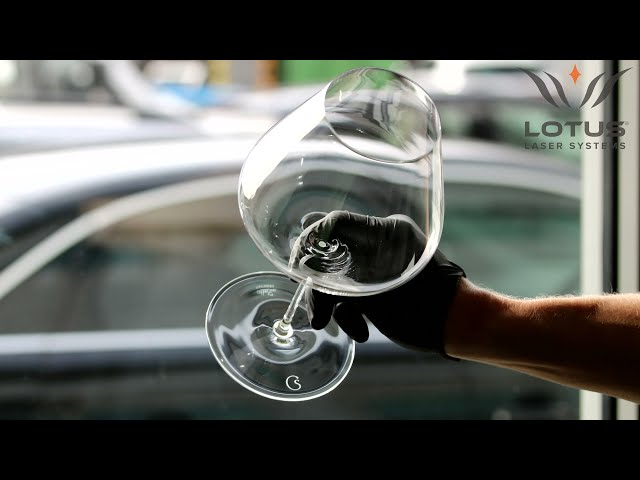 Lotus Laser Systems UV laser engraving the base of a fine wine glass