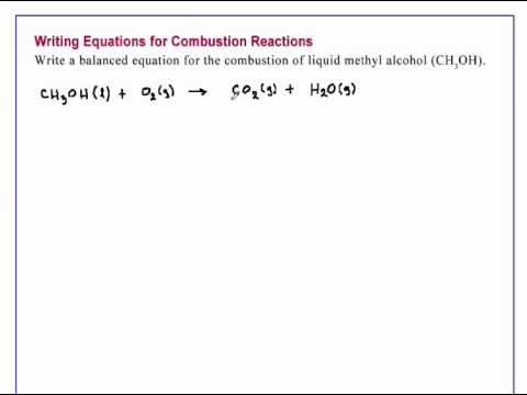 Writing Equations For Combustion Reactions Chemistry Youtube