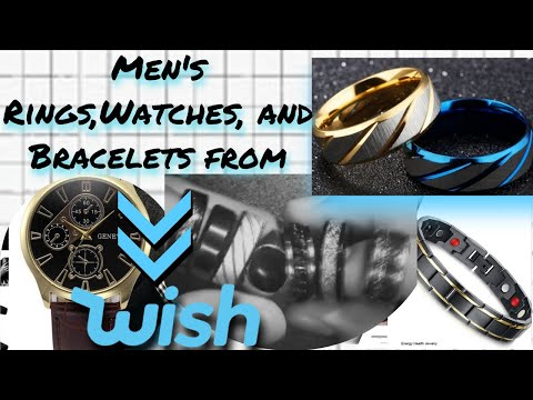CHEAP Wish  Men's Accessories Haul(Rings And Bracelets) -WISH ||Powered Reviews