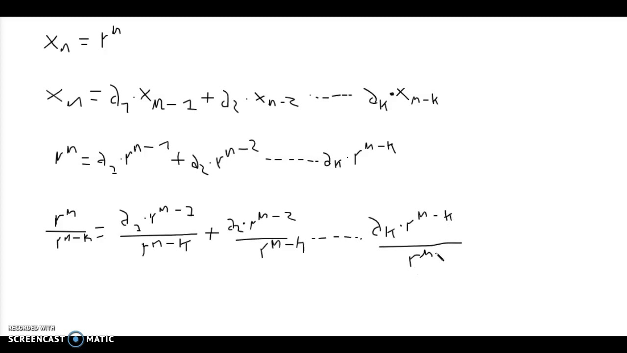 Mat A - Diskret matematik - Homogen rekursionsligning