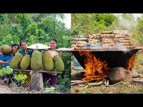 Ancient Cake:  Jackfruit Cake Packing From Banana & Palm Tree Leaves - Khmer Traditional Um Orn Sorm